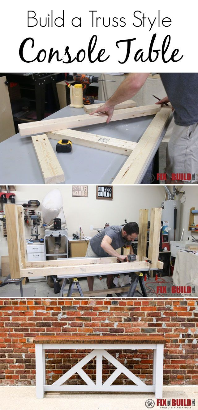 full video tutorial to build a truss style console table diy rh pinterest com