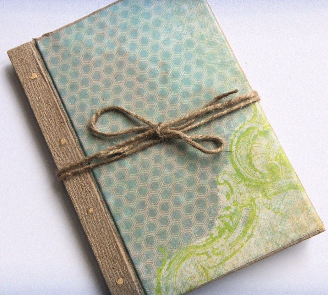Scrapbook ideas recycled - Blank Recycled Scrapbook Journal With Natural Paper Sky Blue Honeycomb Design