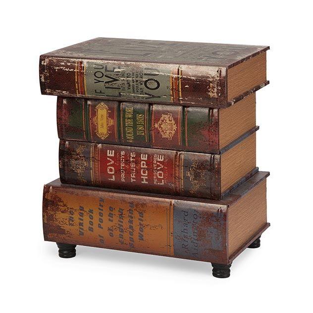 Elegant Brownlow Stacked Book Table