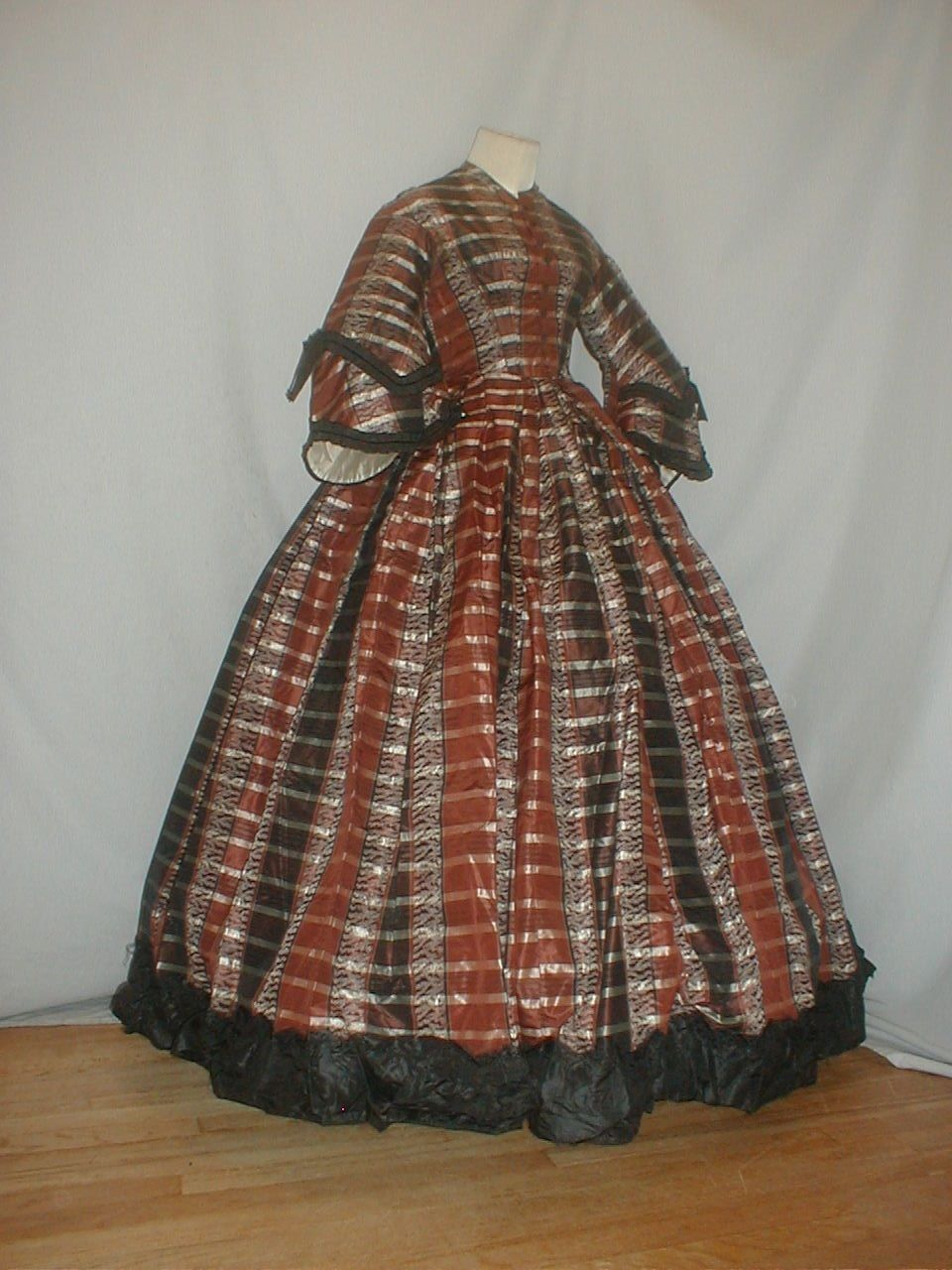 Brown black silver and white plaid silk dress ca in the