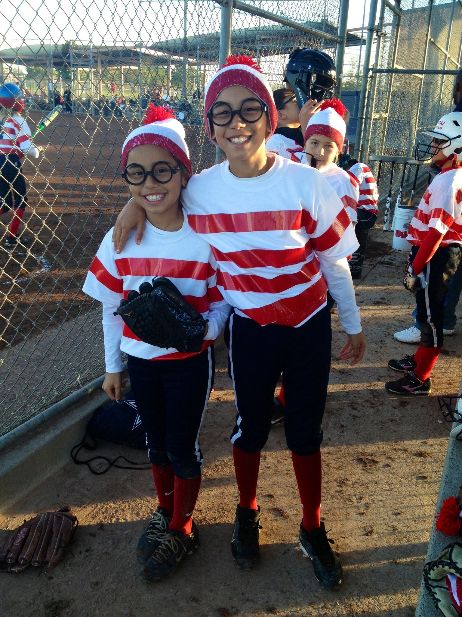 Softball team Halloween costume- Whereu0027s Waldo. Duct taped plain white Tu0027s added pom-poms to white beanies and painted numbers on the backs of shirts ...  sc 1 st  Pinterest & Softball team Halloween costume- Whereu0027s Waldo. Duct taped plain ...