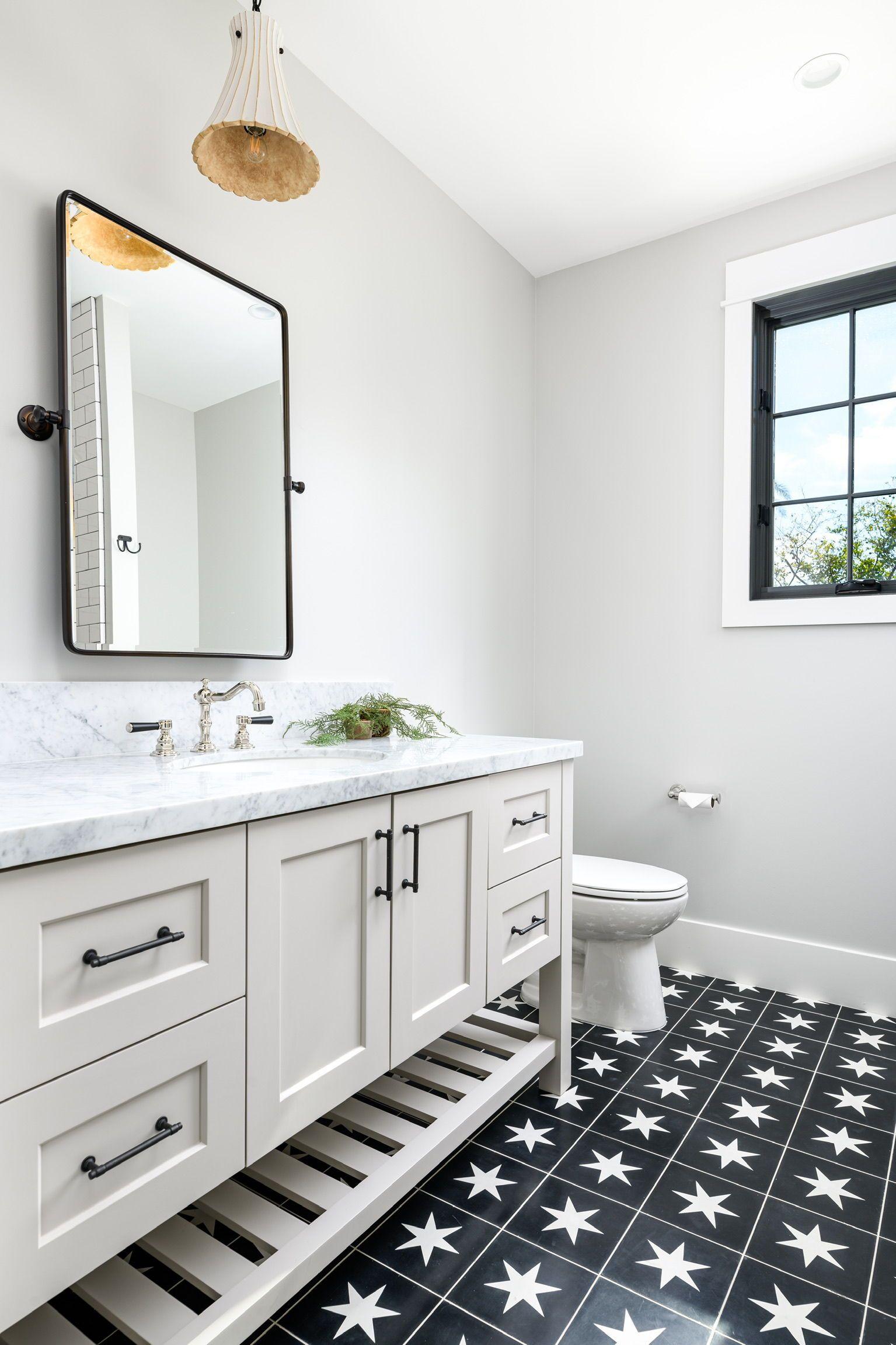Black And White Tile Bathroom Floor In 2020 Black Tile Bathrooms White Tile Bathroom Floor Black And White Bathroom Floor