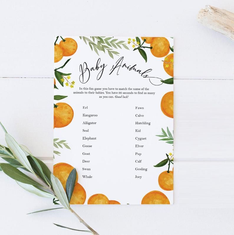 the price is right game  citrus baby shower printable game gender neutral baby shower oranges clementine cutie