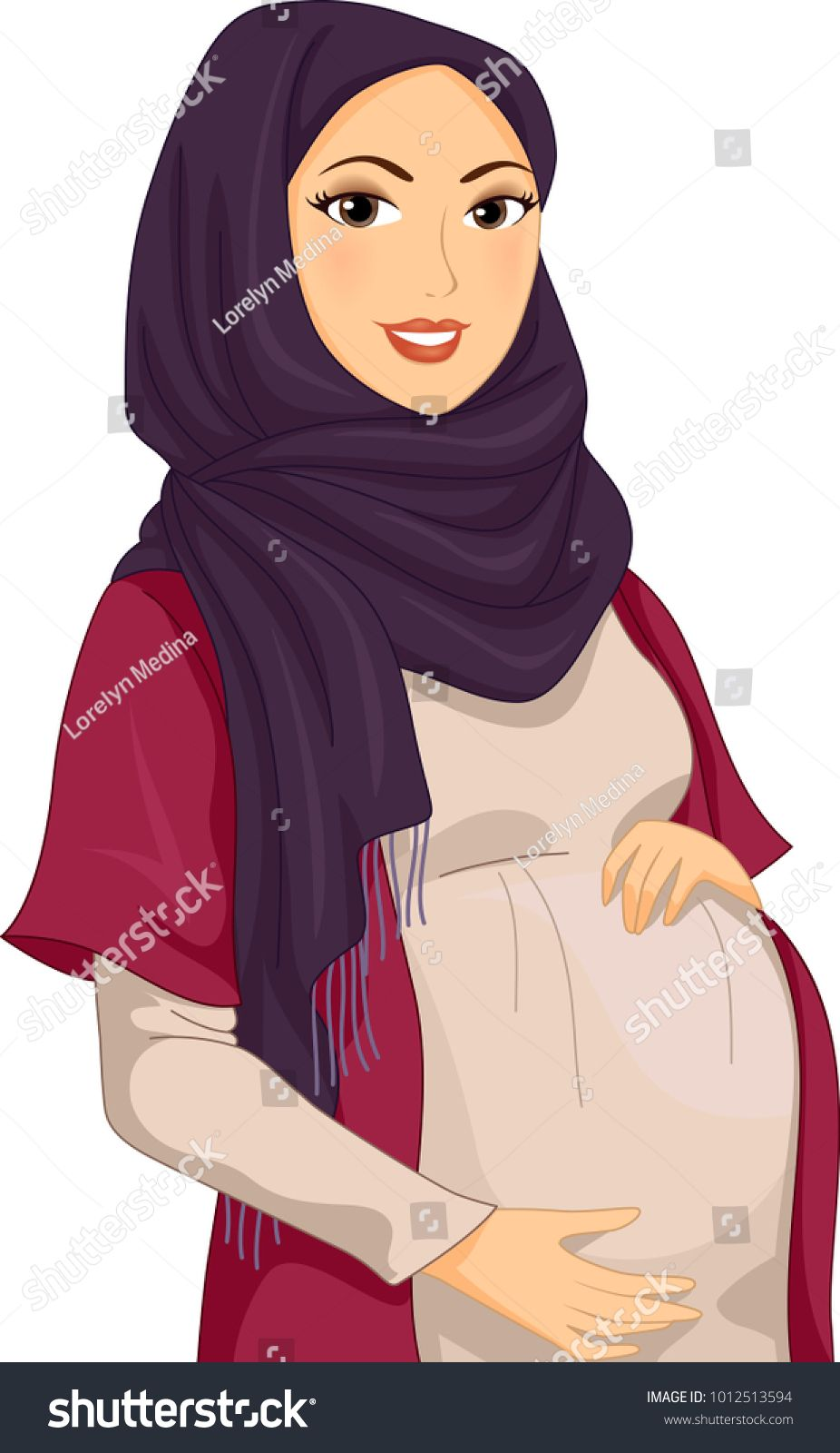 Illustration of a Pregnant Muslim Girl Wearing Hijab