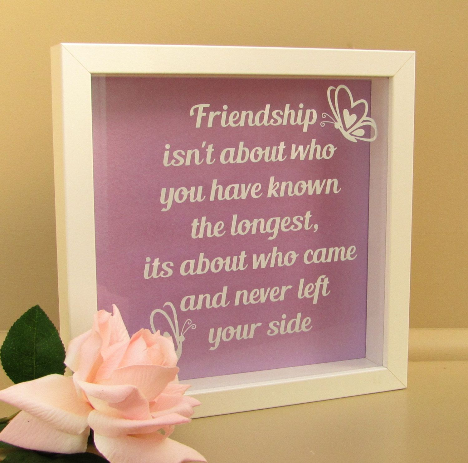 Quotes About Lasting Friendship Friendship Quote Box Frame With Butterflies  White.