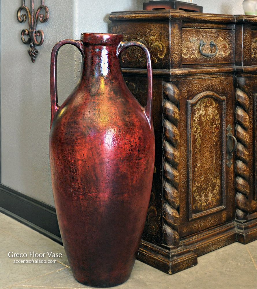 Tall greco floor vase at accents of salado tuscan decor for Decoration vase