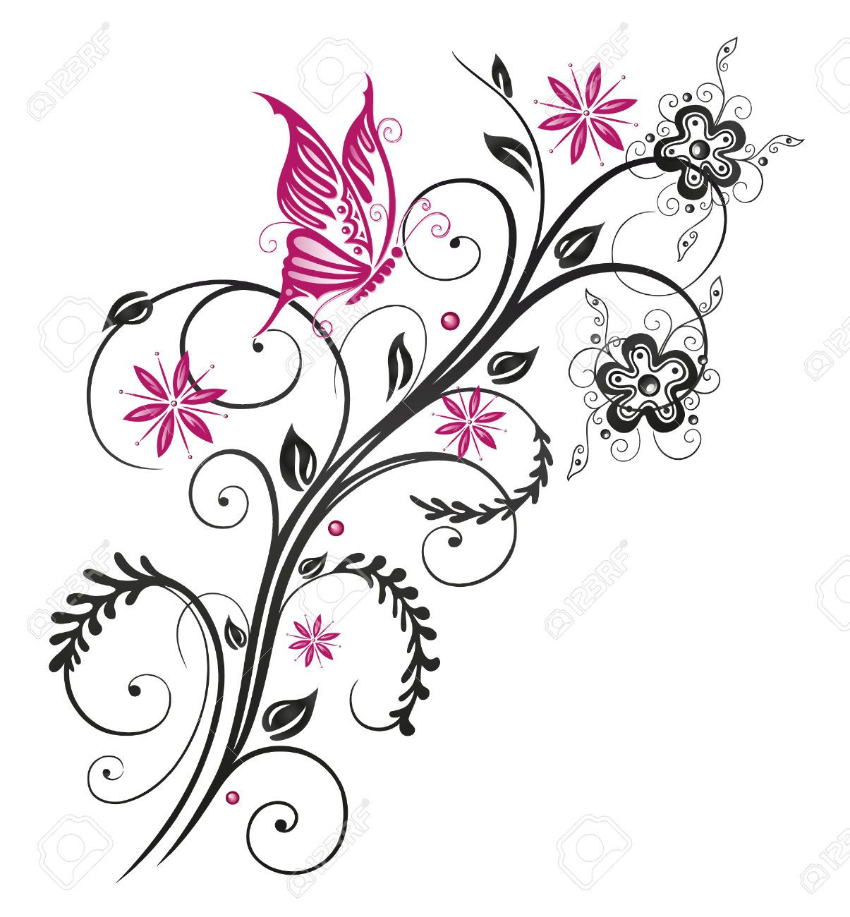 Fashion Printed T-Shirts Flowers with Swirled Branches Butterflies in Watercolor