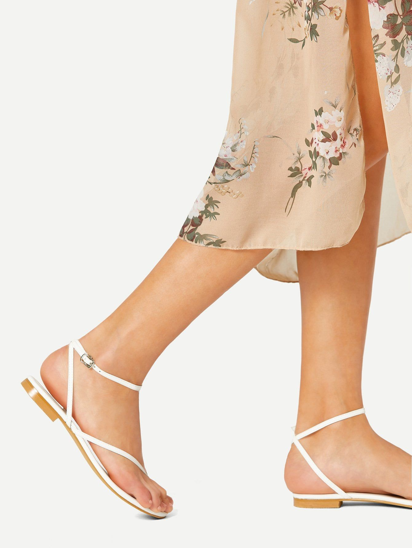 c10914aba Casual Toe Post Criss Cross White Strappy Toe Ring Flat Sandals ...
