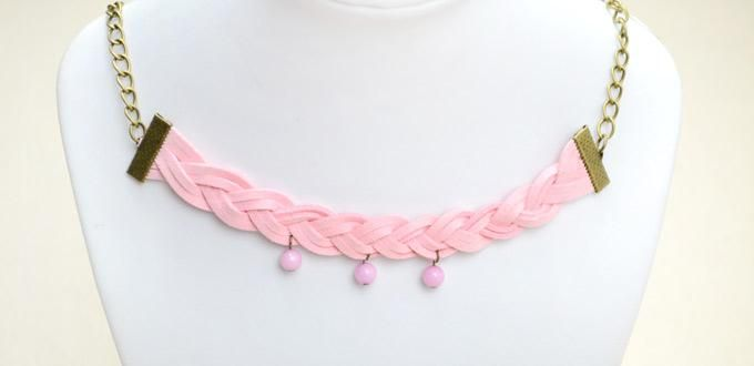 How To Make Braided Bead Necklace   Handmade Suede Cord Braided Necklace  Idea