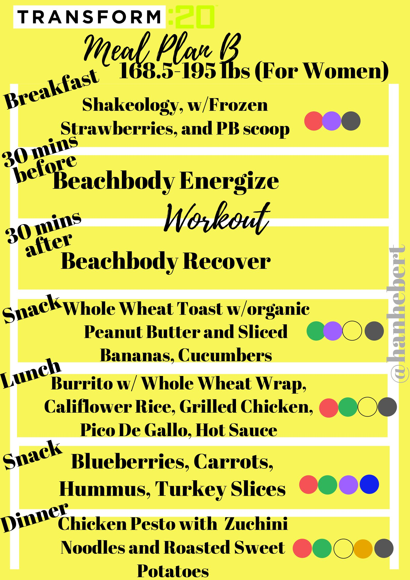 Transform: 20 Meal Plan B for women 168 5-195 lbs  instagram