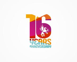 16 Years Anniversary Desain Logo Kartu Ulang Tahun Kartu