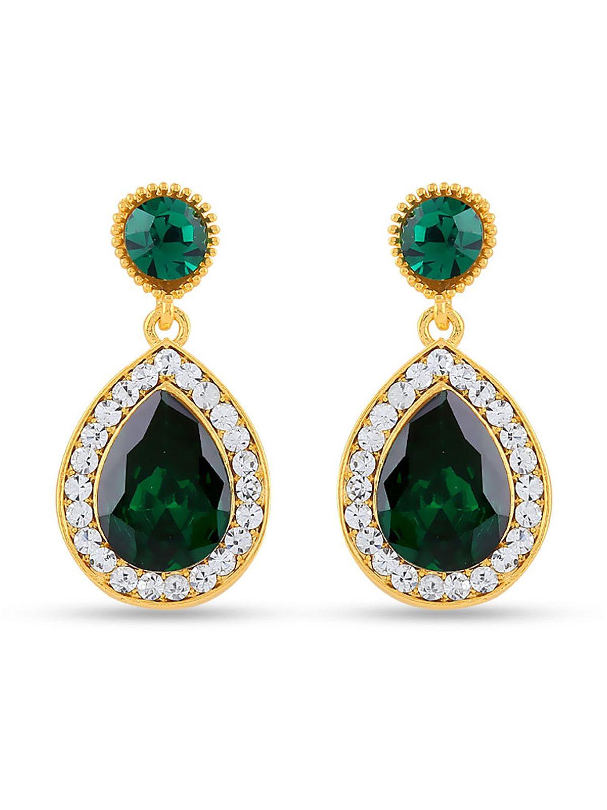 Spunky green party wear brass modern earrings Having material brass