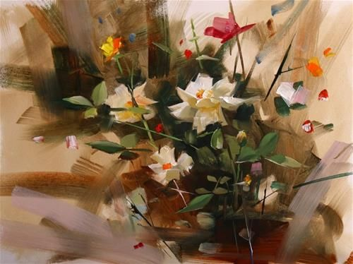 """Daily Paintworks - """"Rose Garden in Mayfield Park"""" - Original Fine Art for Sale - © Qiang Huang"""