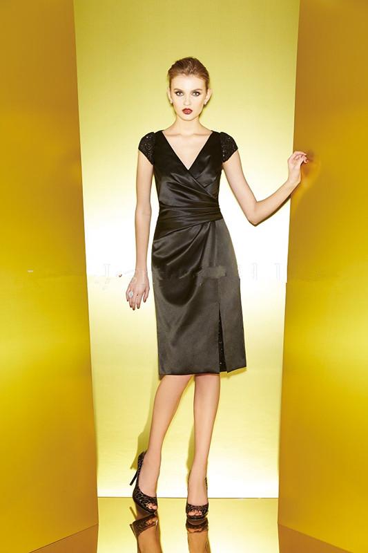 2015 Beading Short Sleeves Knee Length V-neck Zipper Black Satin Mother of the Bride Dresses Jasmine MBD150064