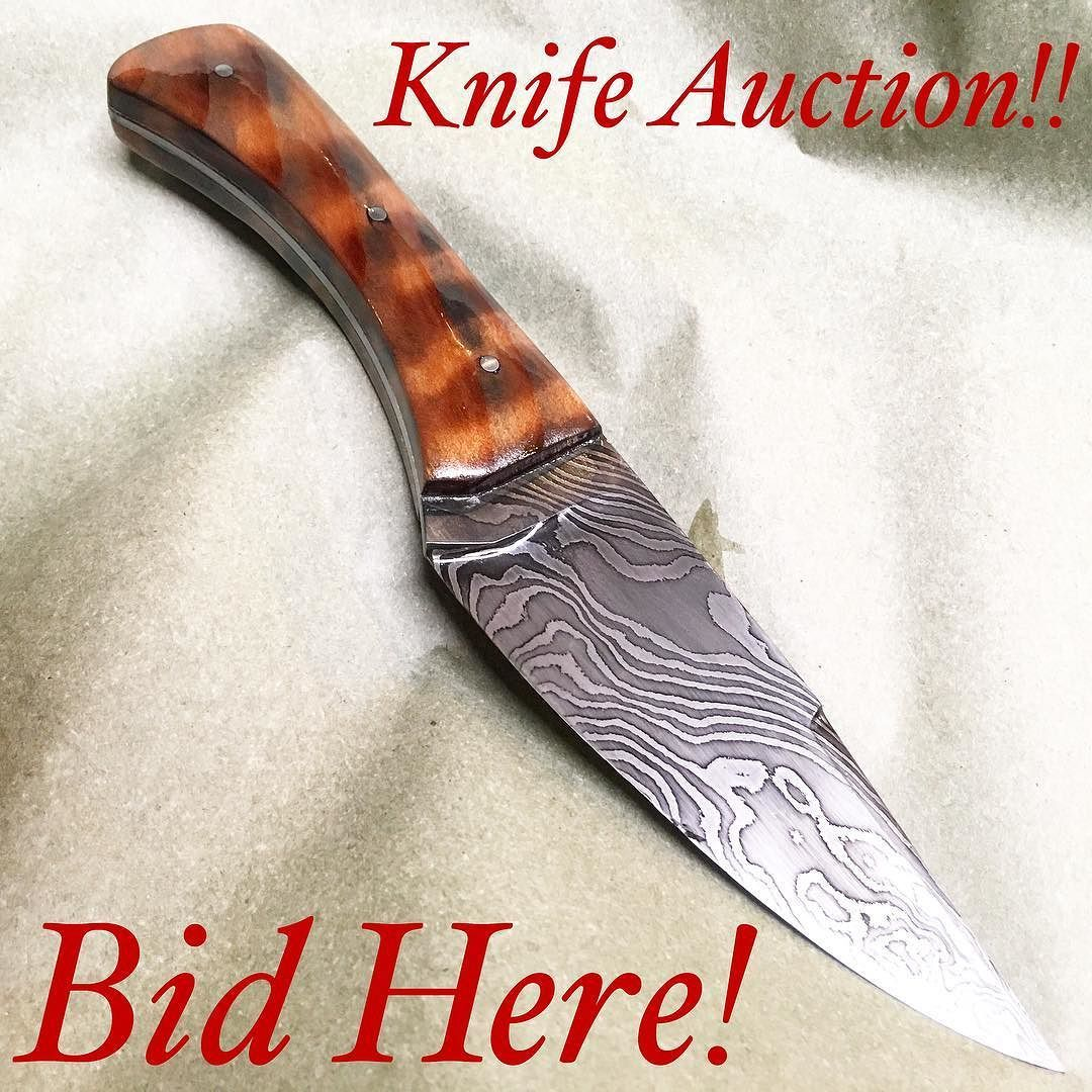 """AUCTIONBID HERE $200 starting bid!  Hand forged damascus blade. 5"""" cutting edge 9"""" overall.  The handle is highly chatoyant curly redwood with steel pins.  I am about 4 hours later than expected finishing this so better photos/videos will be posted throughout the day  Auction rules: Auction will end at Midnight EST Saturday $5 bid increments shipping is included within the US $15 will be added for international. 5 minute anti sniping extension applies. I reserve the right to end the auction…"""
