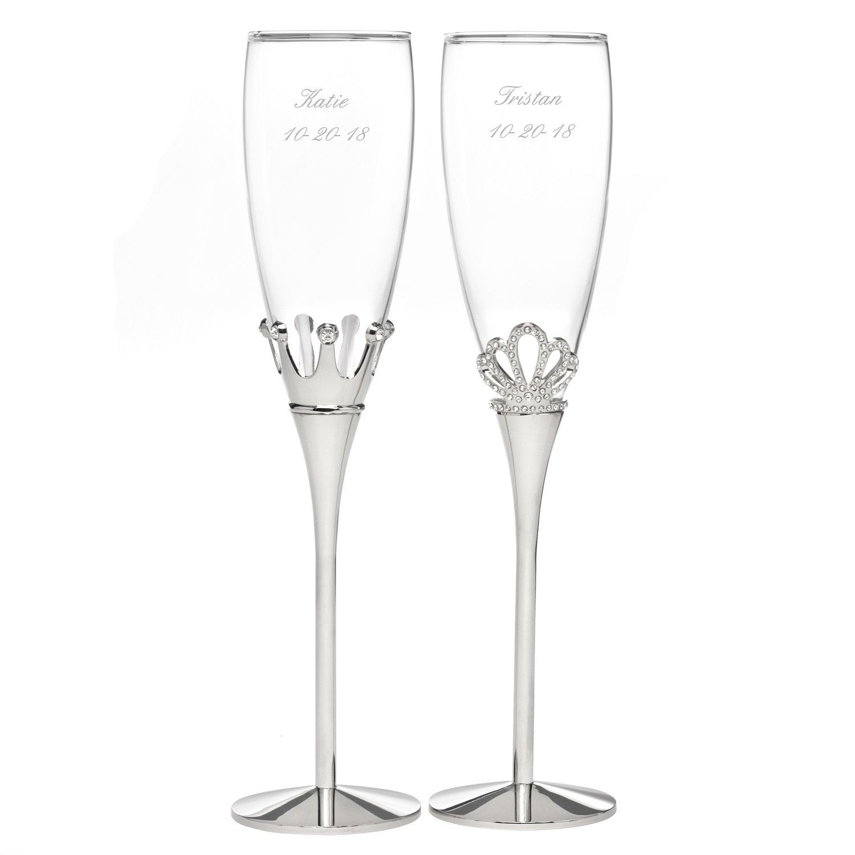 King And Queen Rhinestone Flute Gl Set Wedding Toasting Glestoasting Fluteswedding Champagne