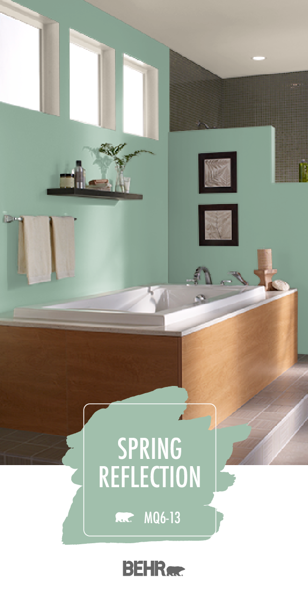 Adding A Spa Like Style To This Master Bathroom Behr Paint In Spring Reflection Is A Calming Shade Of Bathroom Paint Colors Bathroom Colors Painting Bathroom