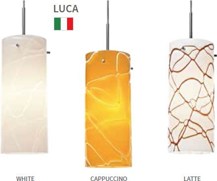 lights luca pendants in matte chrome chrome or bronze and is compatible with any bruck line