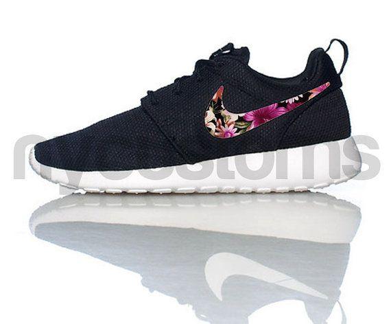 c018fc312c8f Nike Roshe Run Black White Floral Bouquet Print Swoosh V3 Edition Custom  Womens