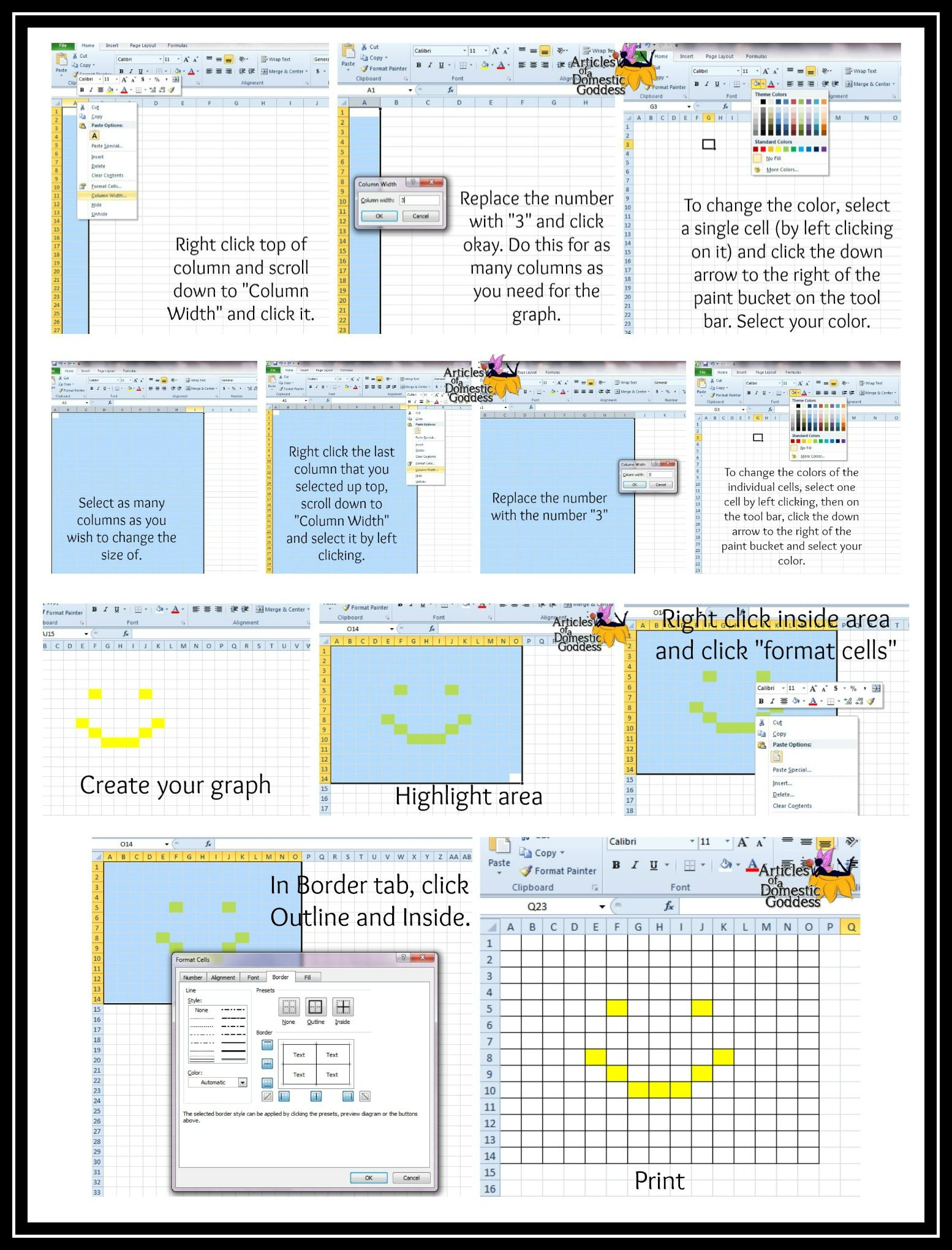 How to create a crochet graph using excel! Detailed instructions ...
