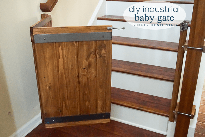 How to Make a Custom DIY Baby Gate with an Industrial Style is part of Organization DIY Baby - Here's a complete tutorial to learn how to make a baby gate  This industrial style DIY Baby Gate is a great way to make your own custom baby gate to fit your home that fits your style and not take up a lot of room