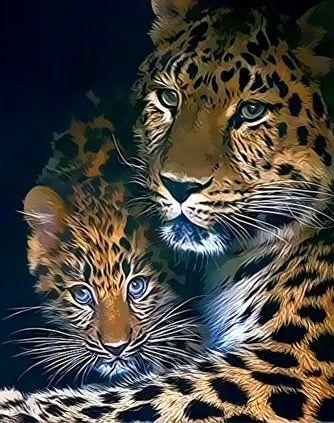 Картина по номерам Paintboy «гепард и ее малыш» | Малыши ...