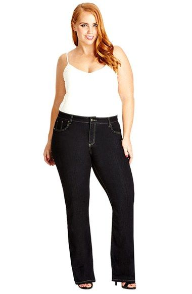 City Chic Glam Stretch Bootcut Jeans Dark Denim Plus Size