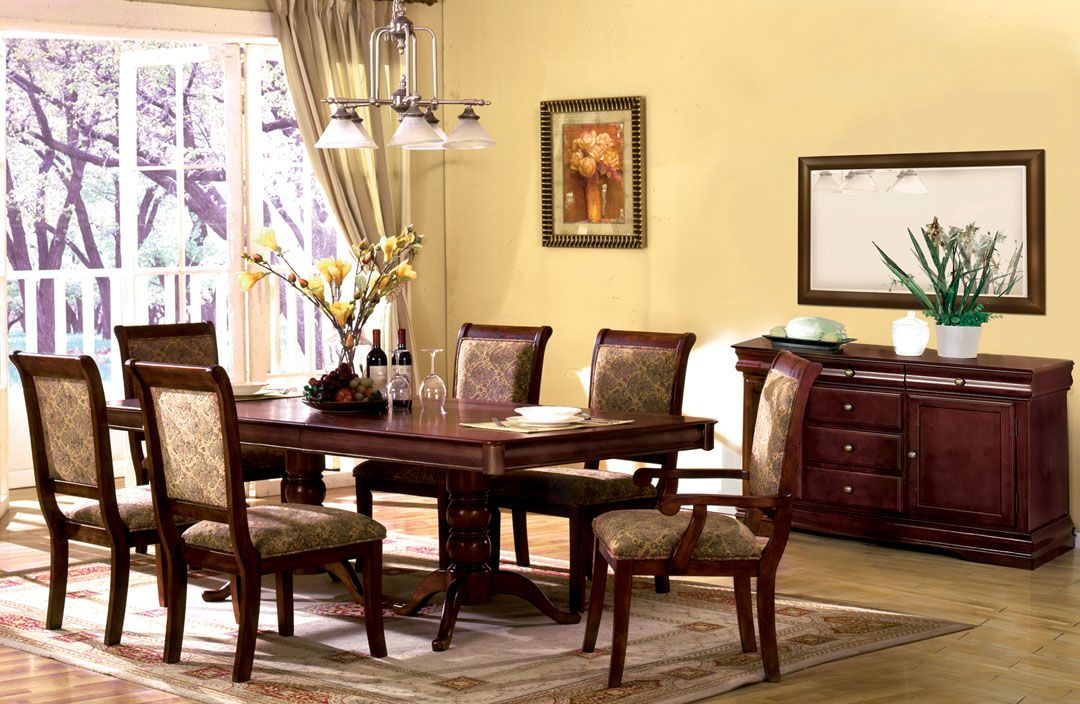 Awesome 7 Pc Double Pedestal Wood Table in Antique Cherry Finish Dining Room Set Photo - Style Of dining room seating Top Search