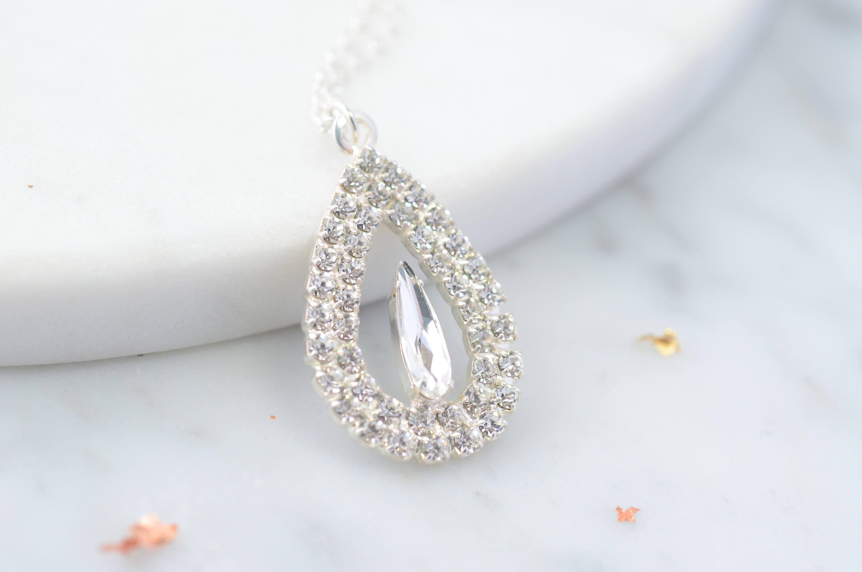 Teardrop Pendant delicate necklace silver drop necklace bridal