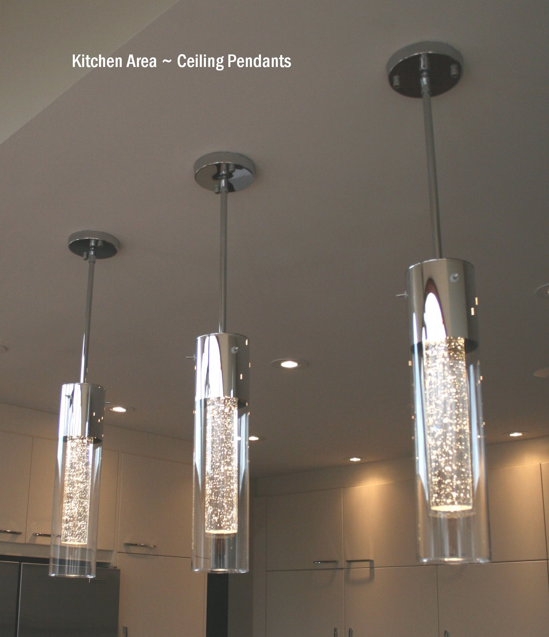 Pendant Light Fixture Tiny micro fibers encased in the crystal tube sparkles when the