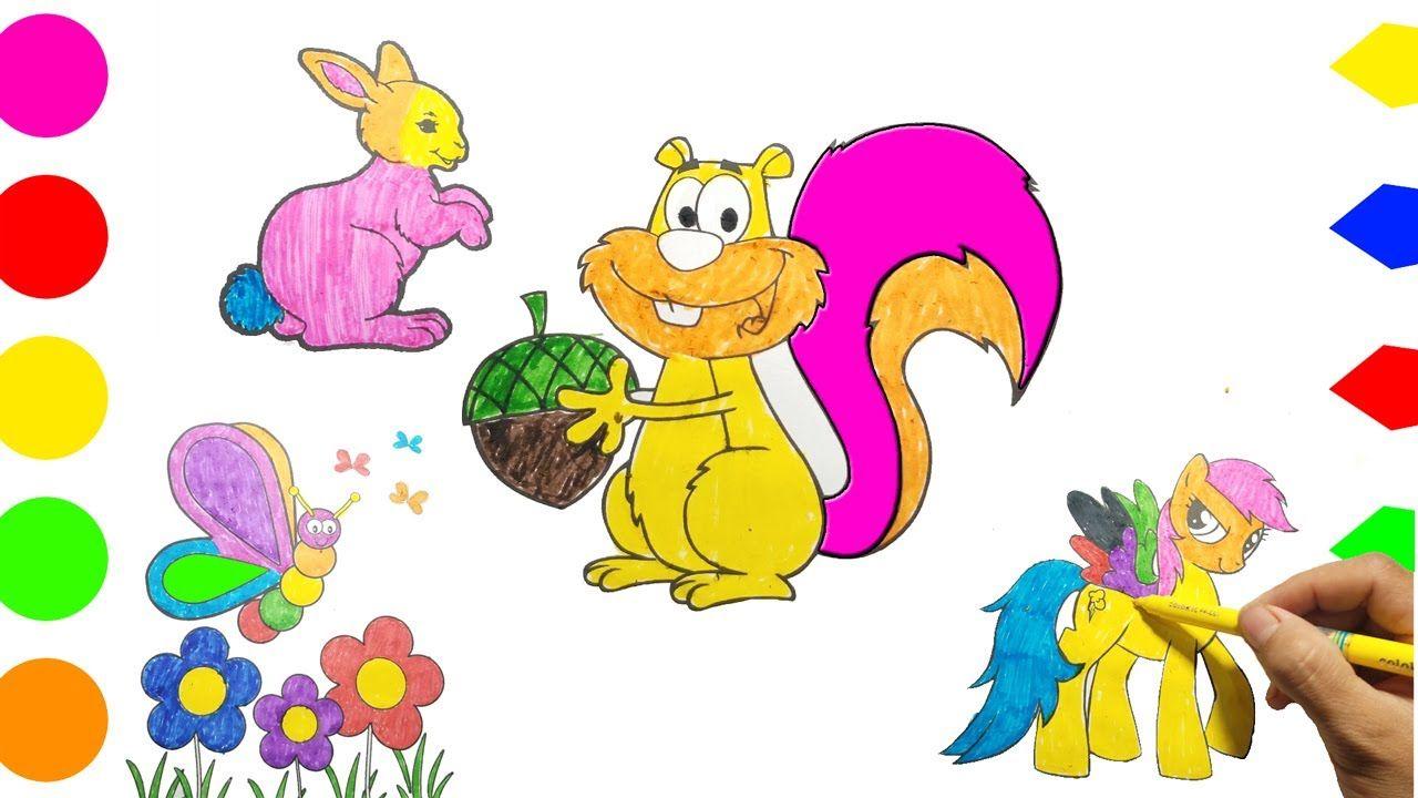 Come Disegnare E Colorare I Bambini Farfalle Conigli Cavalli Sco