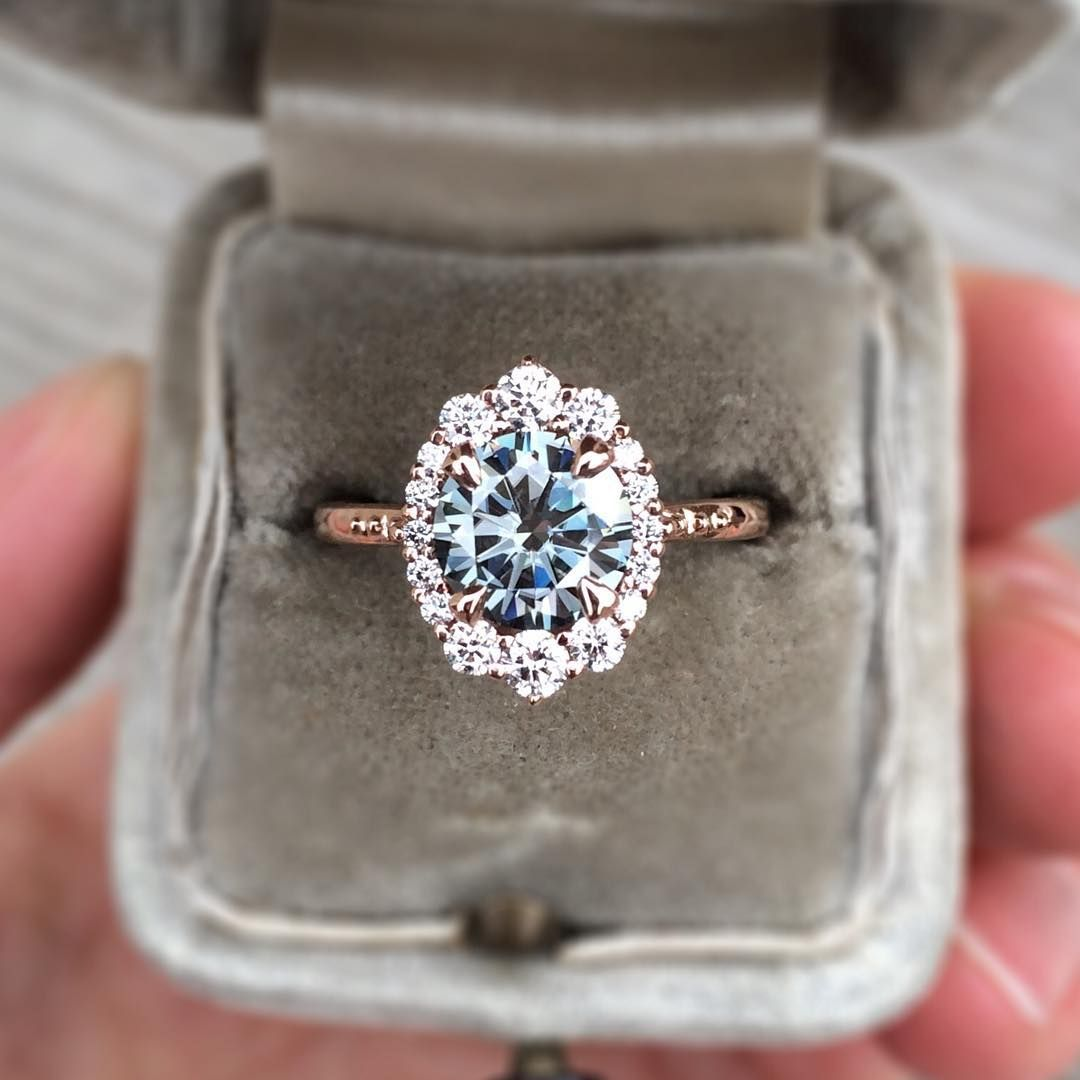 Natural grey moissanite ring with a halo of diamonds <3