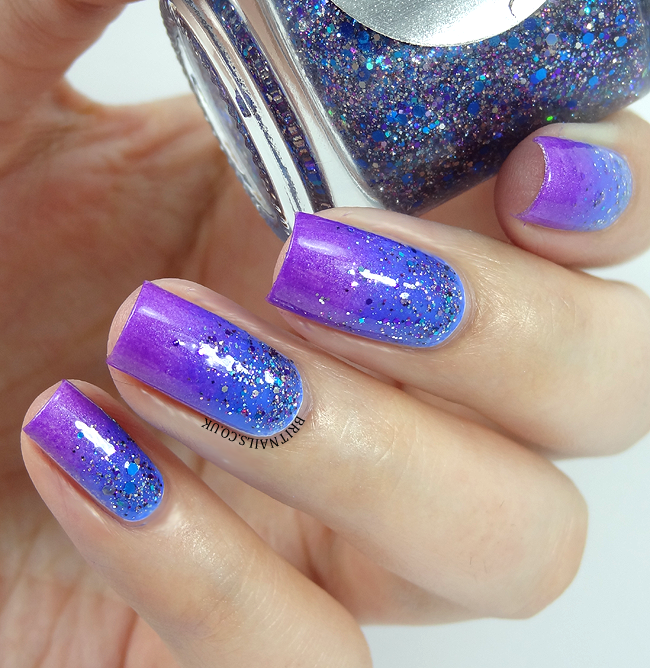 Brit Nails: Blurple Gradient with Shimmer Polish Kim