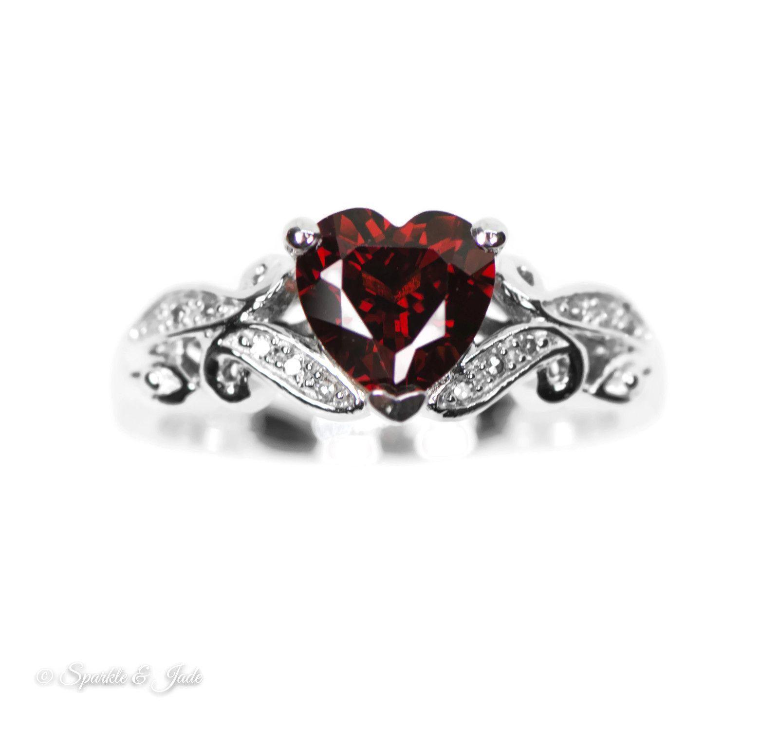 Sterling Silver Genuine Diamond And Garnet Heart Ring
