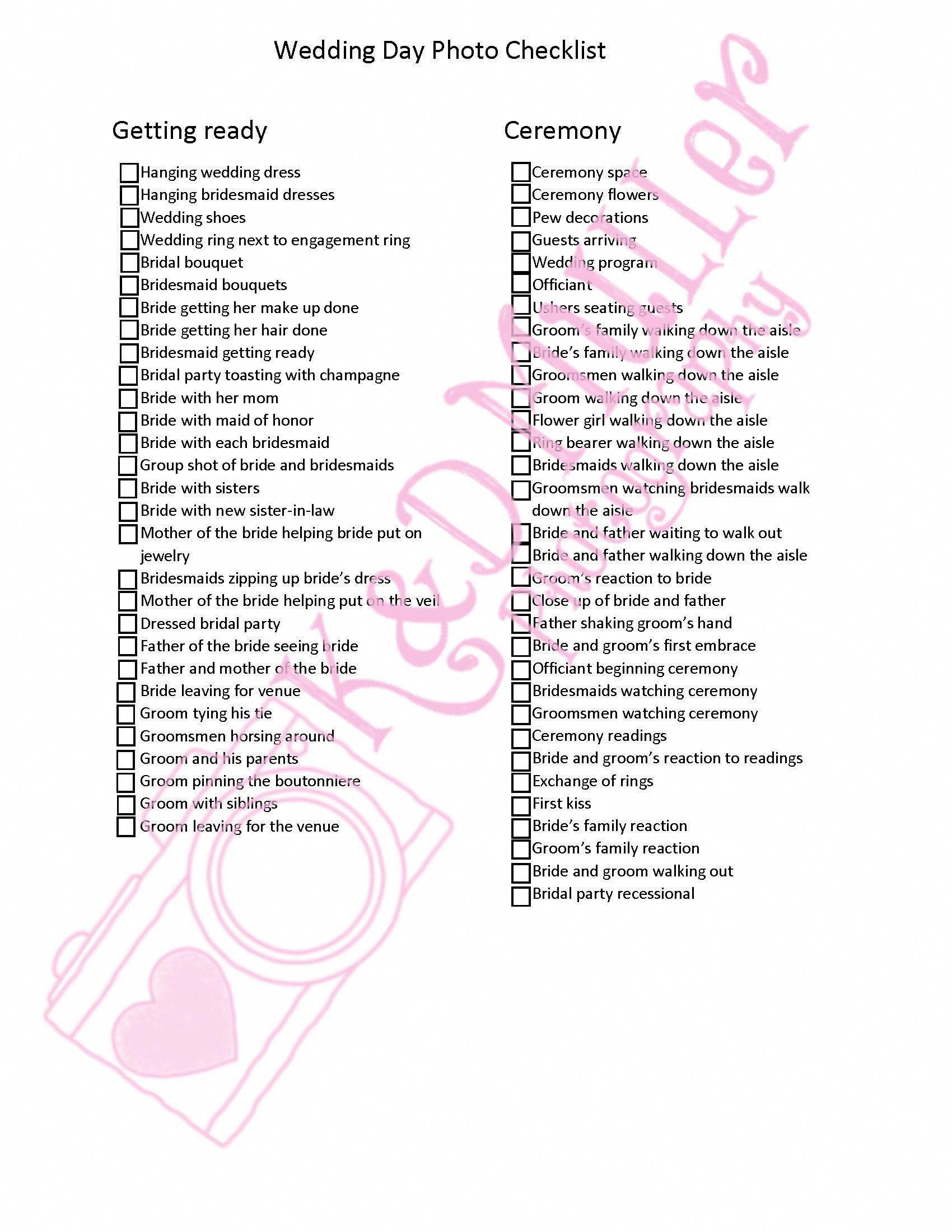 Photographer Wedding Day Checklist In