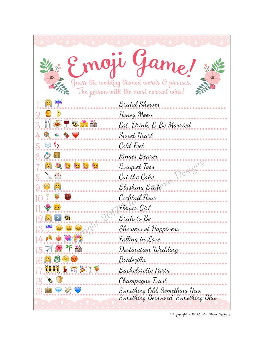 Bridal Shower Emoji Game - Fun Unique Games DIY PDF Wedding ...