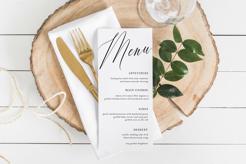 Modern Wedding Menu Printable Wedding Menu Template Simple Menu