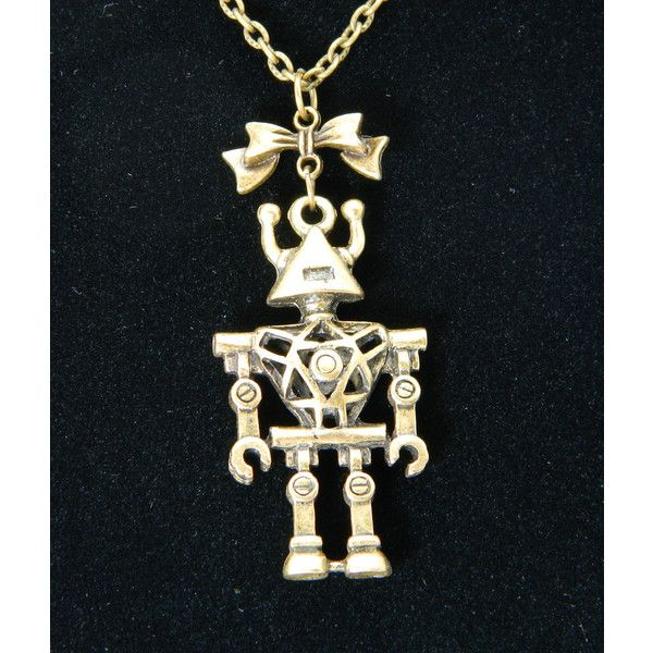 SciFi Giant Robot Necklace, Brass, Bow (€20) ❤ liked on Polyvore featuring jewelry and necklaces