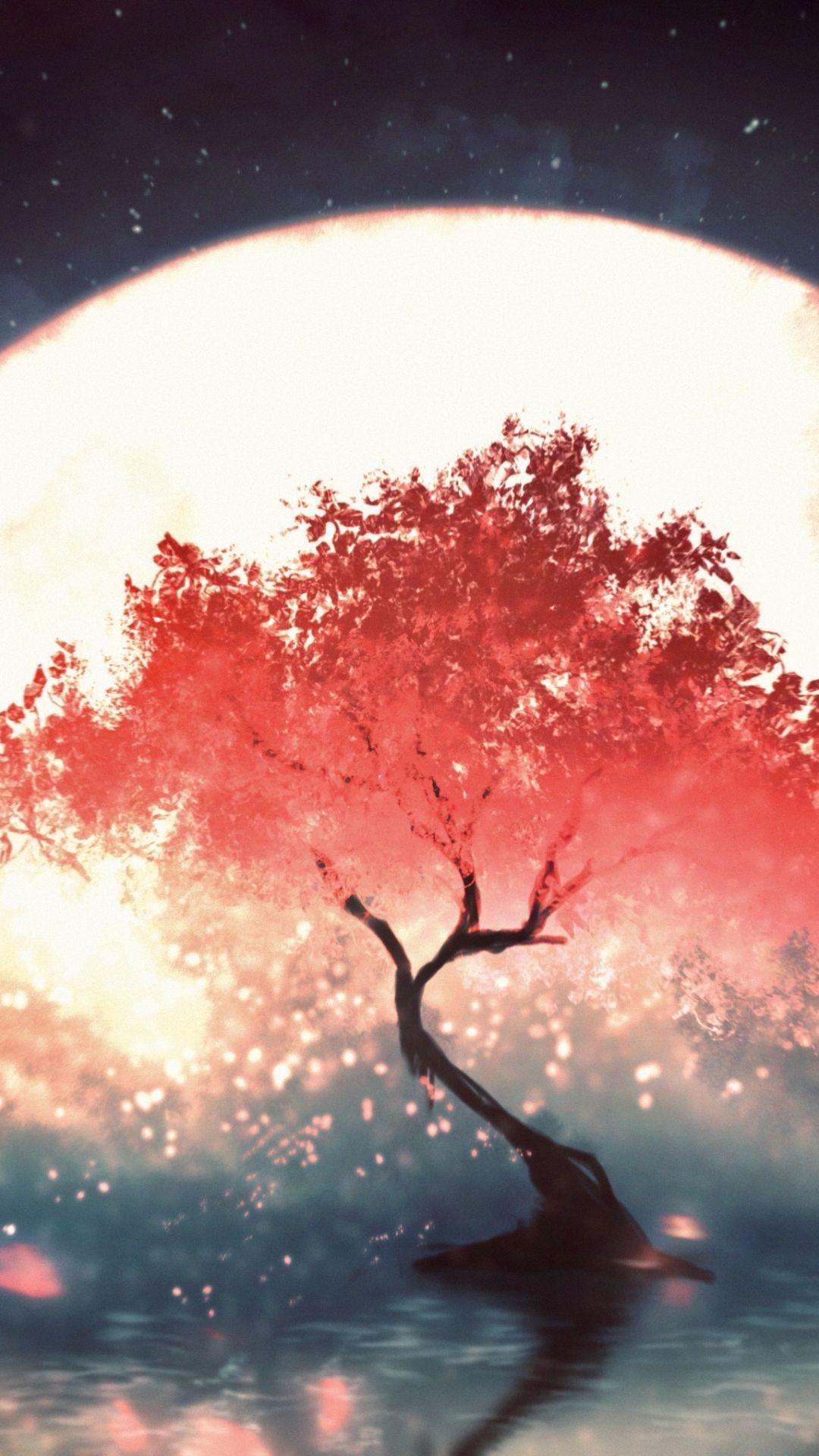 1080x1920 Red Tree Moon Light Fantasy Wallpaper In 2020 Red Tree Fantasy Moonlight