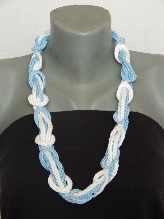 Handmade crochet multistrand chain necklace blue and by MaxMixShop