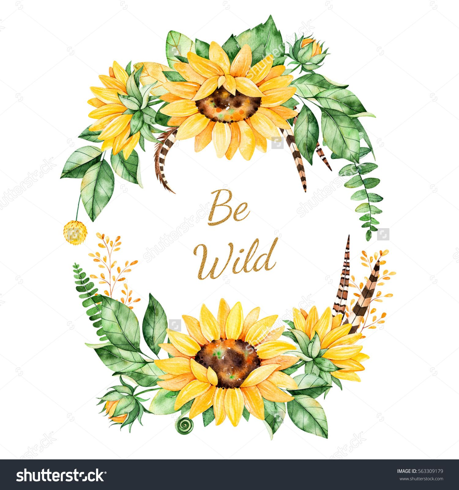 Colorful Floral Template Card With Sunflowers Leaves Foliage