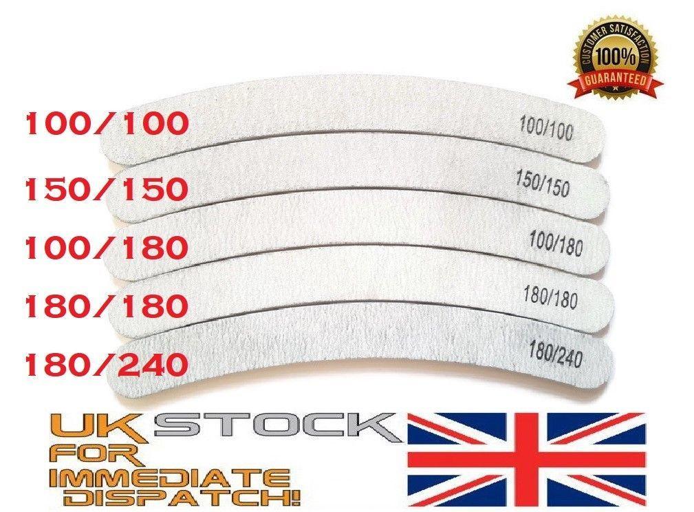 2.49 GBP - 10X Nail Files Shape Banana Curved Buberang Chose Grit ...