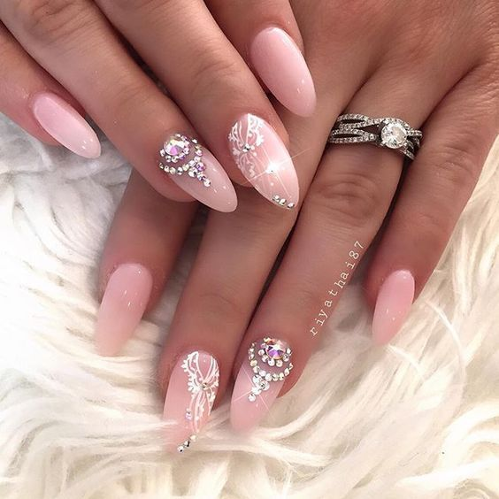 Almond Nail Art 2017 Ideas Pink Rhinestones Diamonds Jewels Gems Acrylic Gel Polish