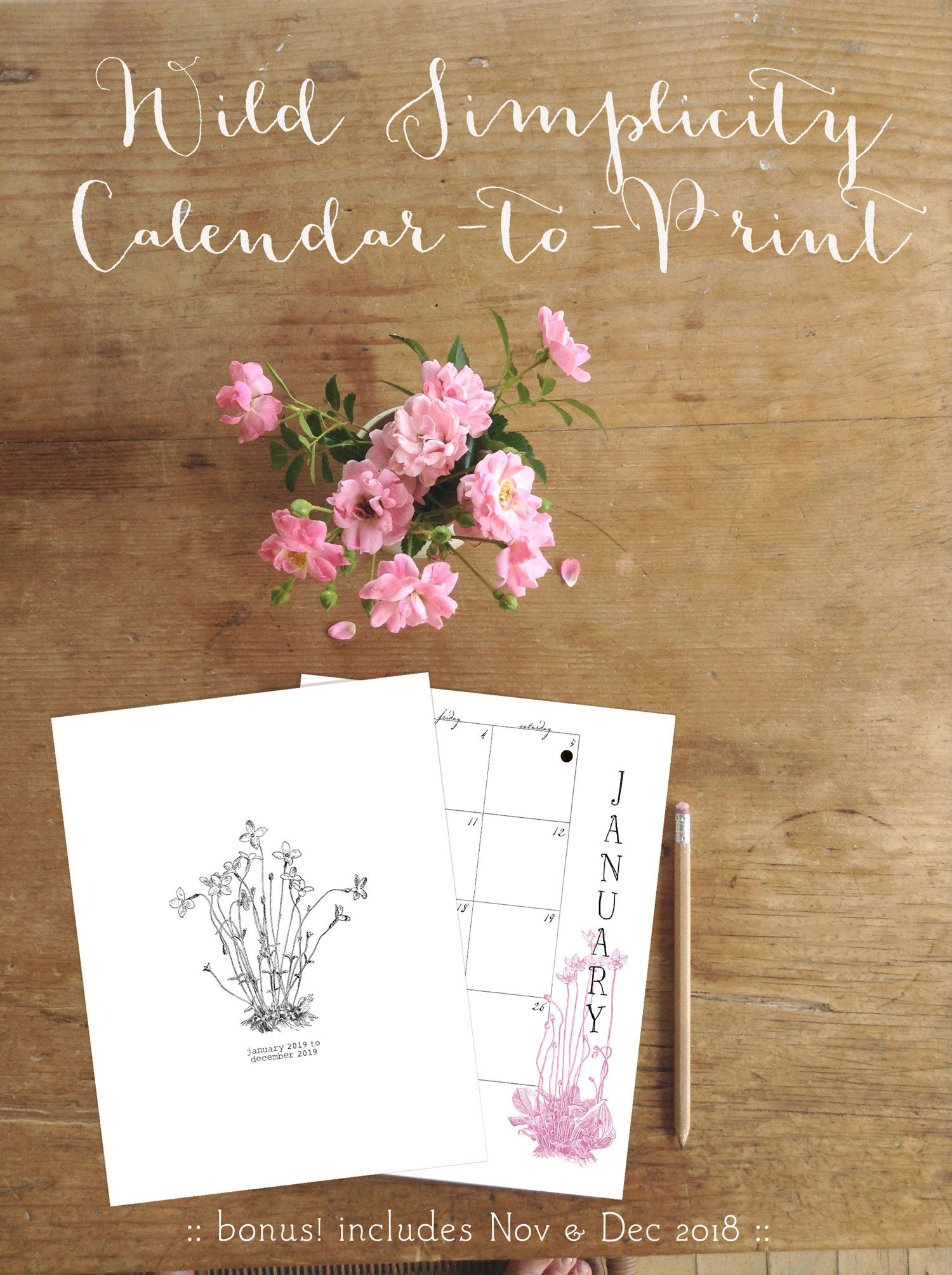 "Printable 2019 Calendar letter size 8 1 2"" x 11"" two page spread"