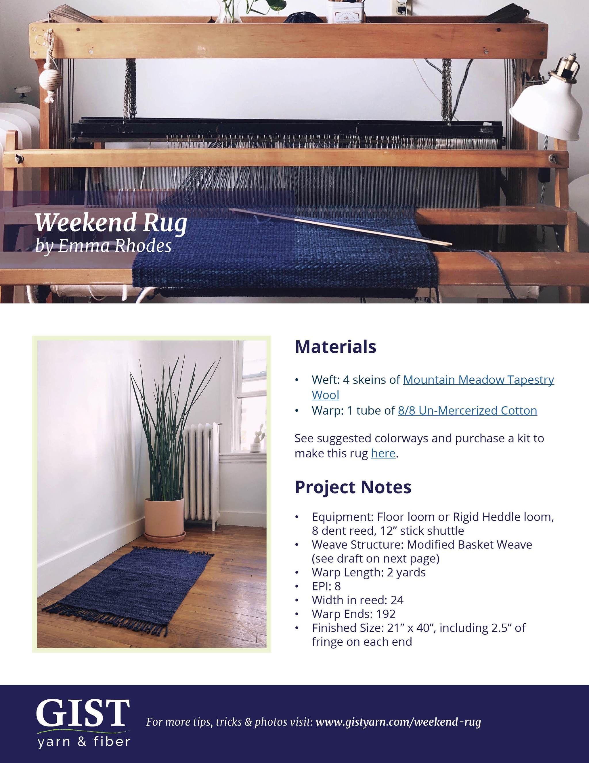 Weekend Rug Free Pattern Pdf Download Rugs Weaving Kit Weaving