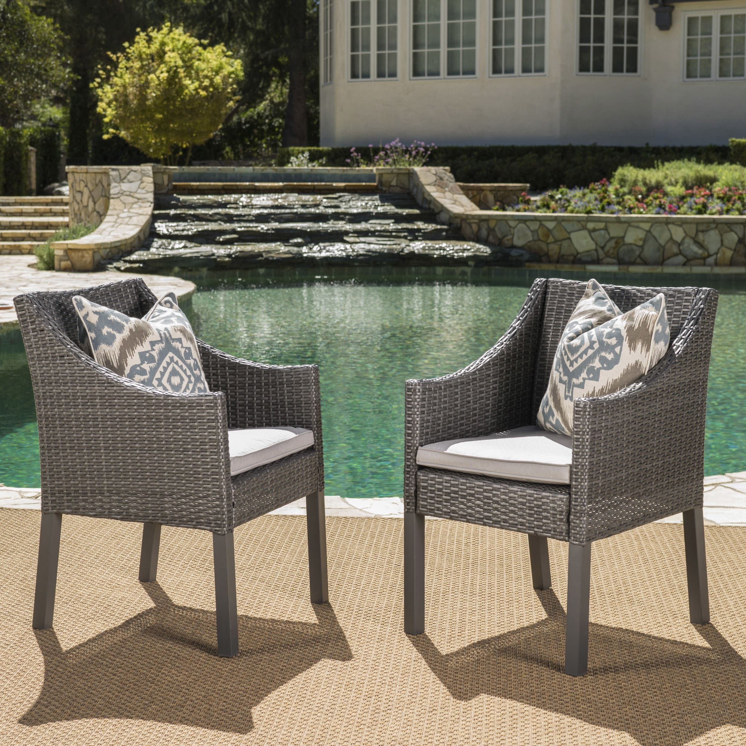 Antibes Outdoor Wicker Dining Chairs with Cushions by Christopher