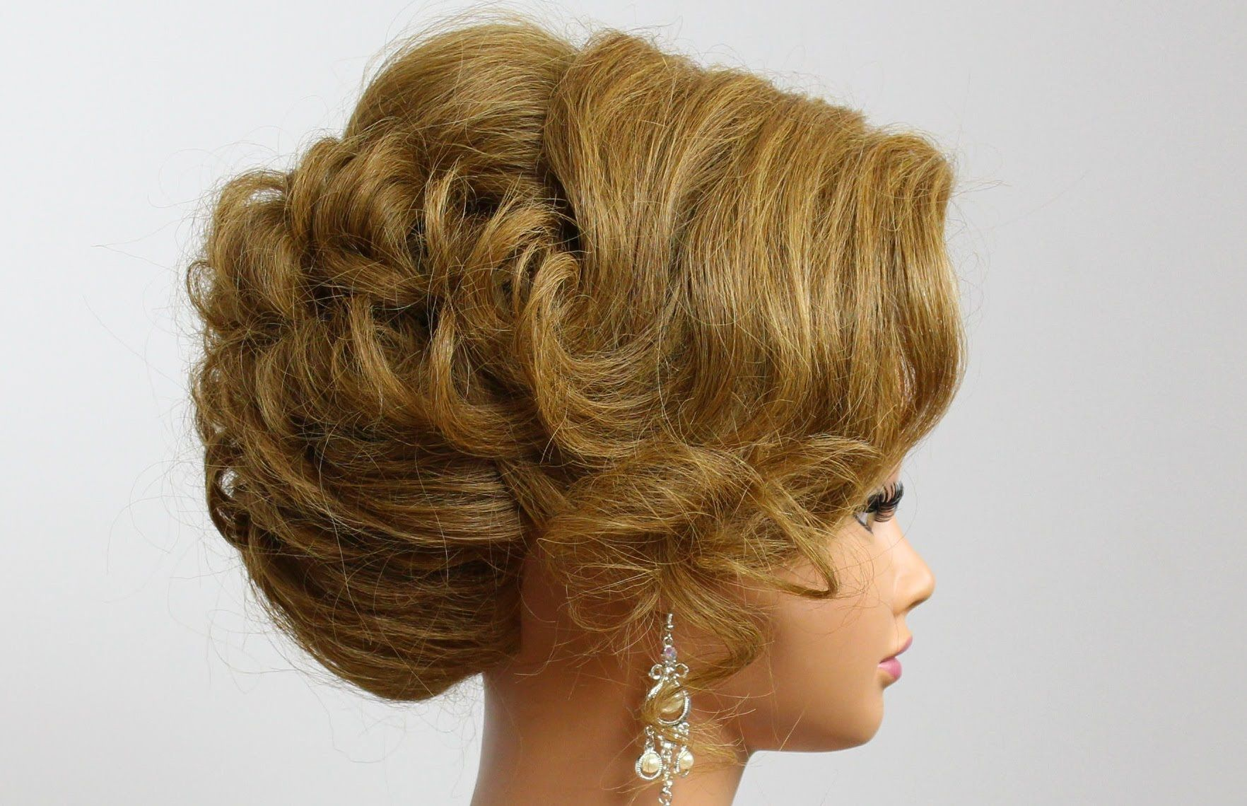 Bridal updo wedding hairstyle for medium hair medium hair