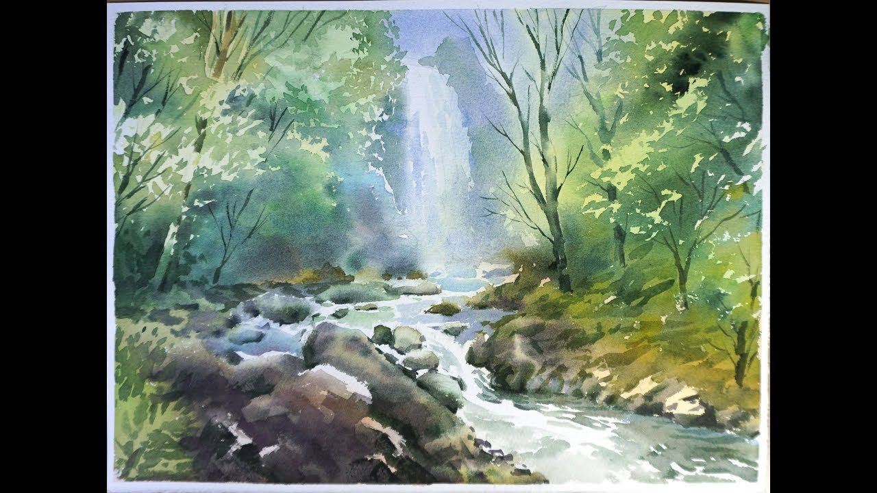 Watercolor Landscape Painting Forest Waterfall Watercolor