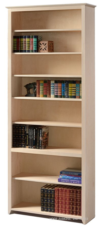 Maple Wood Shaker Bookcase Unfinished 94H