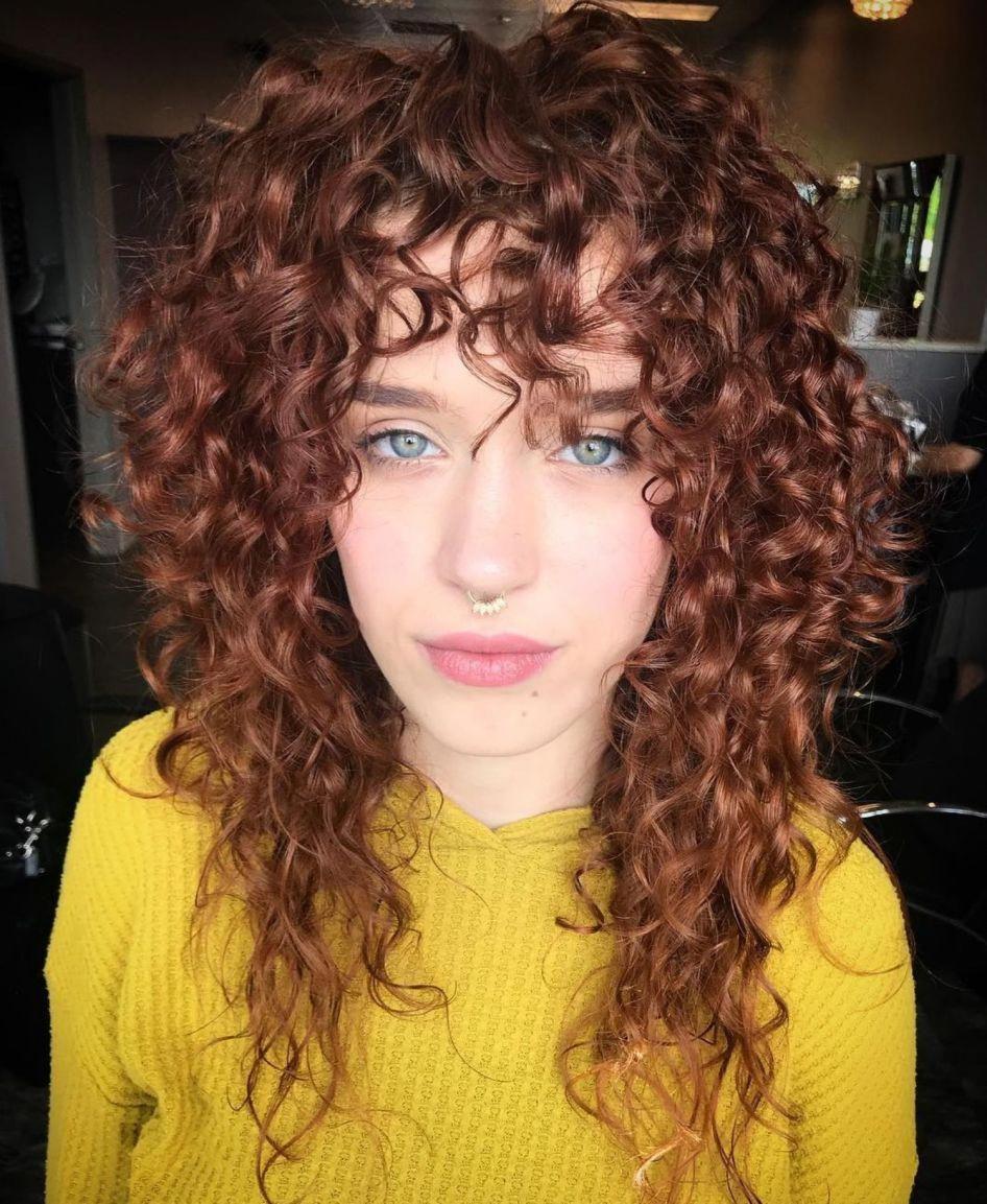 Long Layered Curly Haircut With Bangs Curlybangs Curly Hair Styles Naturally Curly Hair Styles Layered Hair With Bangs